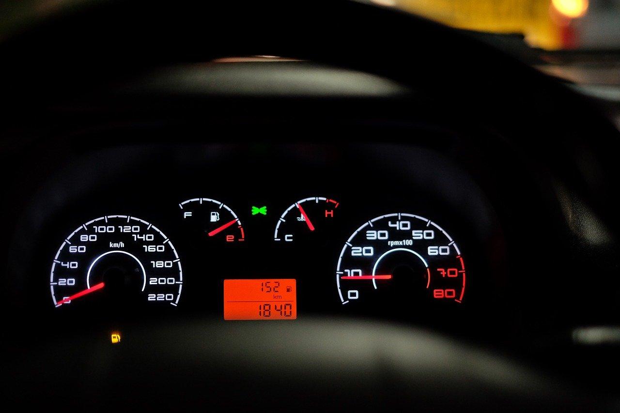 car dashboard, speedometer, speed