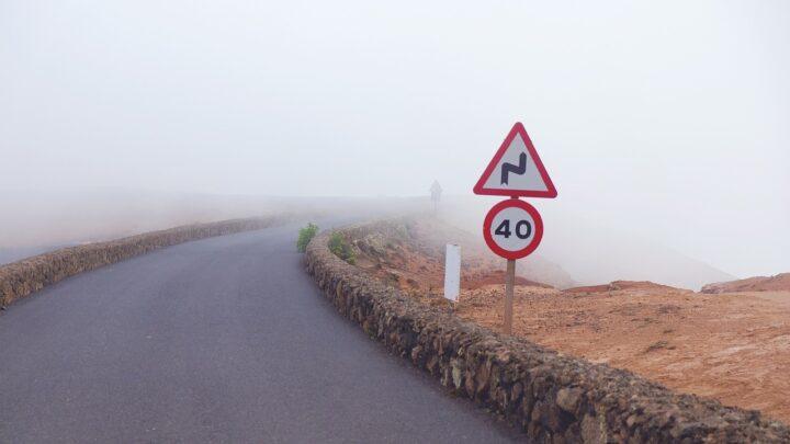 road, fog, signs